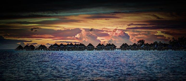 Bora-bora, Sunset, Over Water Bungalows, Sea, Ocean