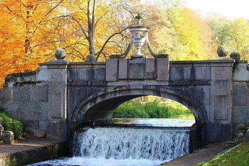 Bridge, Waterfall, Autumn, Fall Foliage, Castle Park