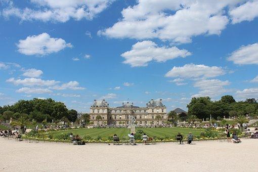 Luxembourg Palace, Castle, Paris, Days, Pm, Cloud, Park