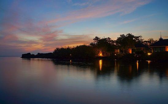 Sunset, Sea, House, Bungalow, Coast, Ocean, Water, Sky