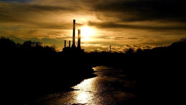 Sunset, Manufactures, River, City, At Night, Dark