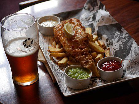 Beer, Food, Meal, Fish, Chips, Drink, Glass, Lunch