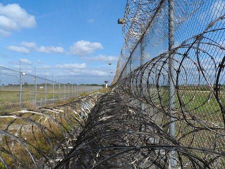 Prison Fence, Razor Ribbon, Wire, Metal, Fence, Barbed