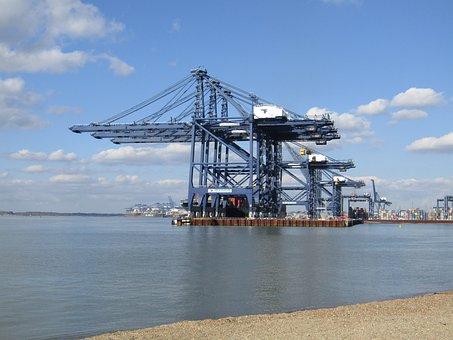 Cranes, Port, Docks, River, Harbor, Shipping, Transport