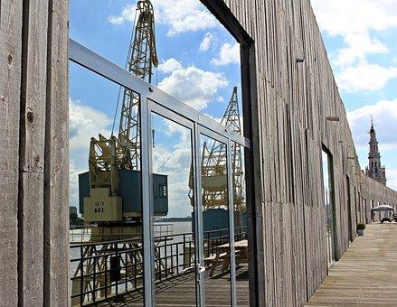 Harbour Cranes, Mirroring, Hanger, Sky, Clouds