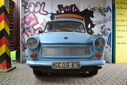 Ddr, Historically, Auto, Light Blue, Trabi