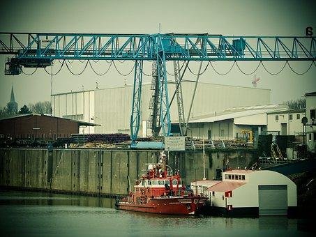 Port, Inland Port, Crane, Water, Cargo, Harbour Cranes