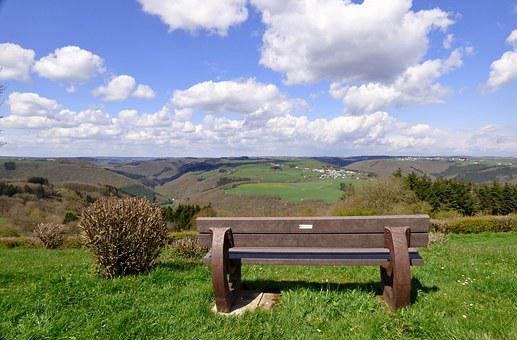 Landscape, Nature, Clouds, View, Bench, Luxembourg
