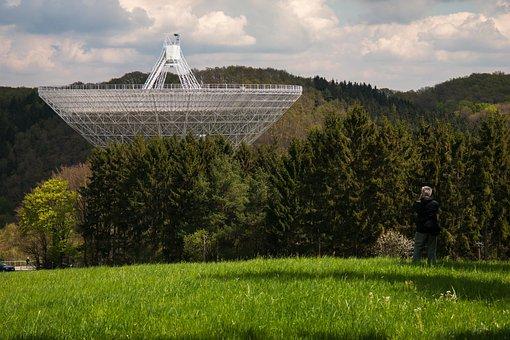 Radio Telescope, Effelsberg, Photographer, Man, Forest