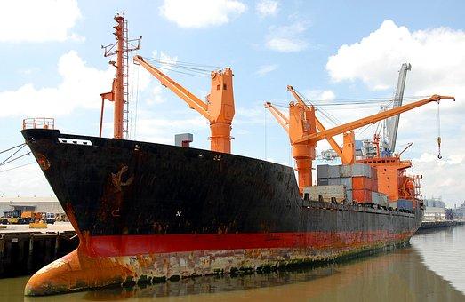 Cargo Ship, Freighter, Ship, Moored, Savannah, Sea