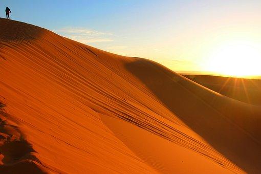 Alone, Sunset, Bright, Sand Dune, Sahara, Morocco