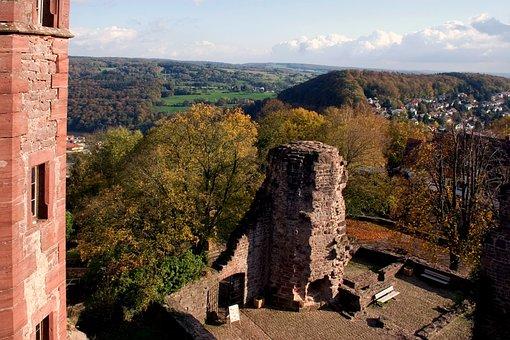 Odenwald, Dilsberg, Landscape, Rune, View, Panorama