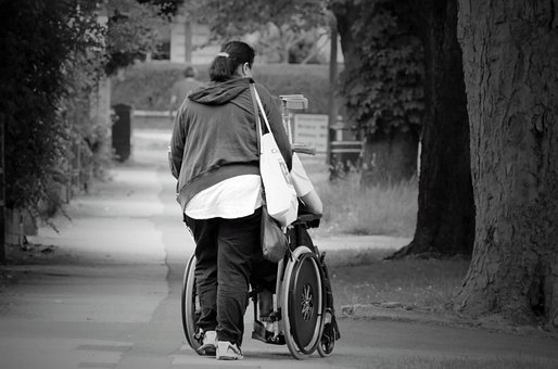 Help, Wheelchair, Women, Old, Street, Accessible