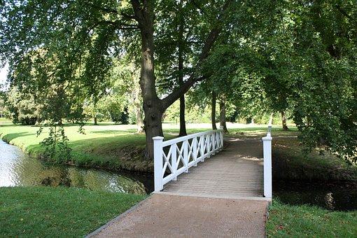 Park, Bridge, Nature, Germany, Water, Summer, Outdoor