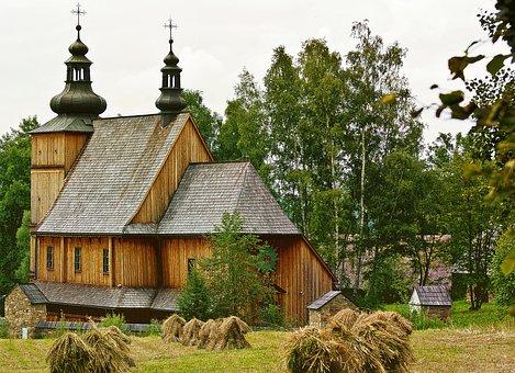 Church, Wooden, Village, Poland Village, Monument
