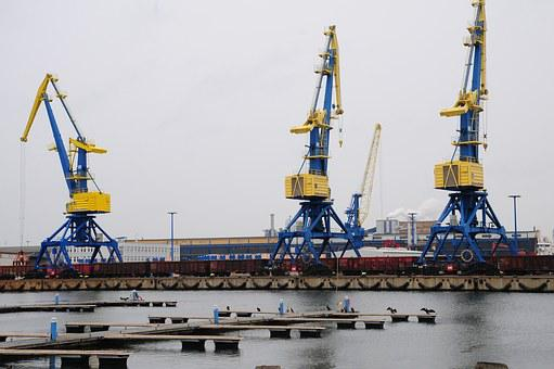 Crane, Port, Cranes, Harbour Crane, Water, Envelope