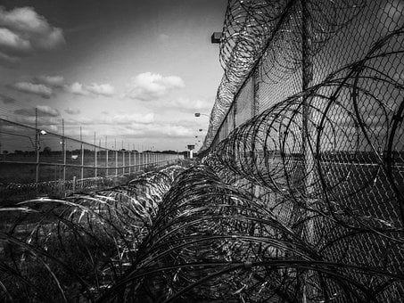 Prison Fence, Razor Ribbon, Wire, Metal, Fence, Barbed