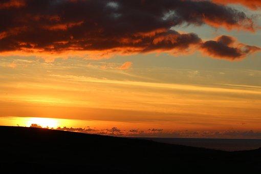 Sunset, Sky, Red Sky, Red Clouds, Sky Fire, Coast