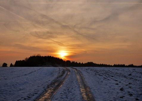 Sunset, Road, Snow, Frozen, Freeze, Winter
