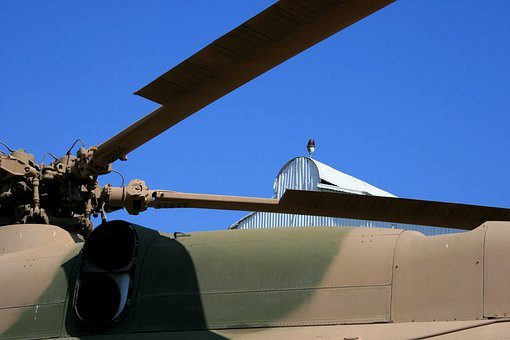 Blue Sky, Roof Of Helicopter, Blades Of Helicopter
