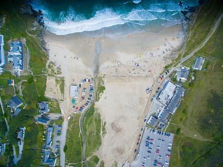 Aerial View, Birdseye View, Beach, Sea, Cornwall, Sand
