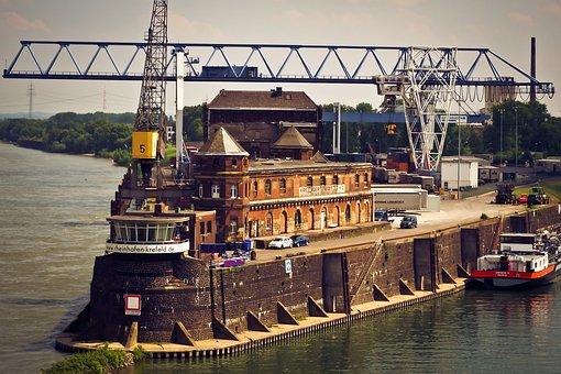 Port, Inland Port, Water, Crane, Ship, Rhine, Cargo