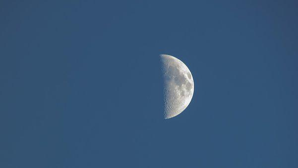 Moon, Satellite, Sky, Space, Astronomy, Half Moon