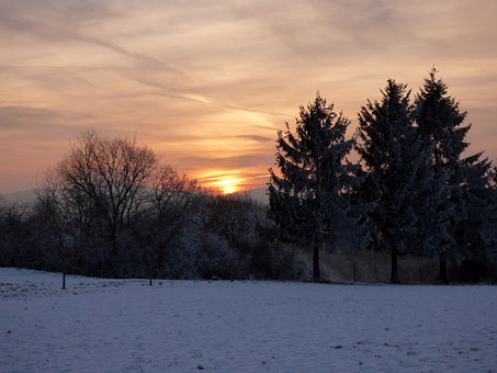 Sunset, Winter, Snow Landscape, Sun, White, Cold, Trees