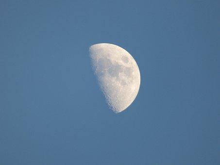 Moon, Satellite, Solar System, Twilight