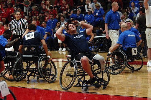 Wheelchairs, Basketball, Sports, Court, Fans
