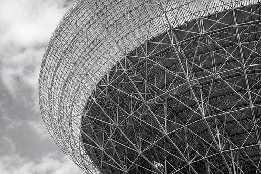 Radio Telescope, Effelsberg, Black And White, Structure