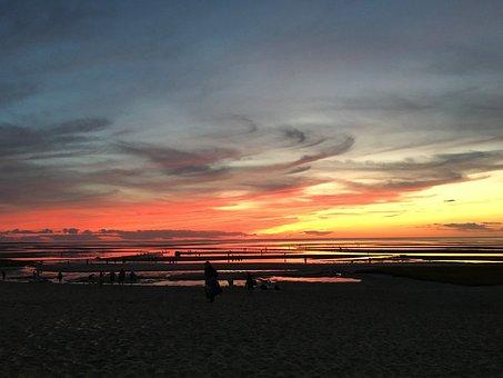 Sunset At Bay, Water, Nature, Bay, Sea, Summer, Clouds
