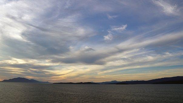 Sunset At Sea, Alaska, Summer, Clouds