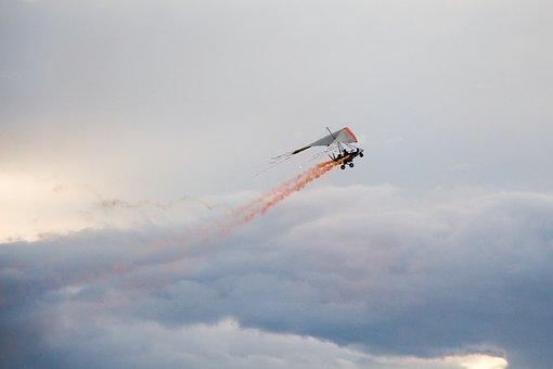 Hang Glider, Stormy, Clouds, Sunset, Smoke, Flare, Sun