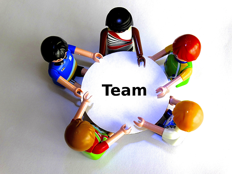 Team, Table, Playmobil, Round Table, Talk, Consulting