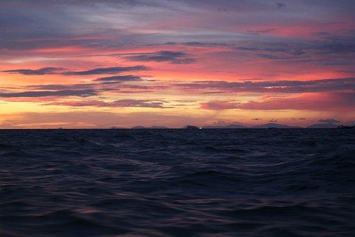 Sunset, Sea, Thailand, Abendstimmung, Sun, Distant