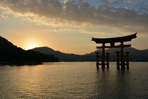 Shrine, Torii, Sunset, At Dusk, Sea, Japan Sankei