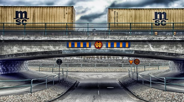 Vinslov, Sweden, Road, Underpass, Train Cars, Railroad