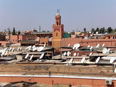 Building, Roofs, Satellite Dishes, Watch Tv, Morocco