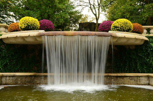 Castle Gardens Arcen, Waterfall, Garden, Plants, Autumn