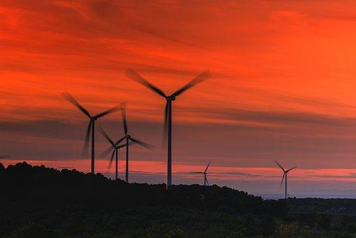 Windmill, Wind, Wind Turbine, Power, Sunset, Generator