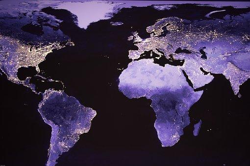 World, Night Photograph, Satellite Image, Lights, Night