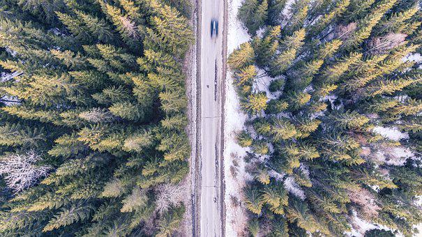 Car, Fast, Road, Motion Blur, Aerial, Asphalt