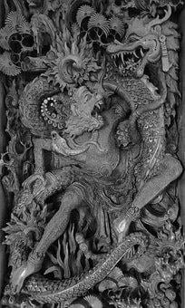 Wood Carving, Hanuman, Bali, Monkey God, Dragon, Wood