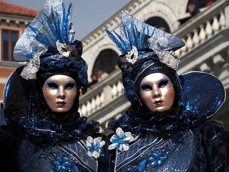 Carnival, Venice, Costume, Mask, Panel, Gold