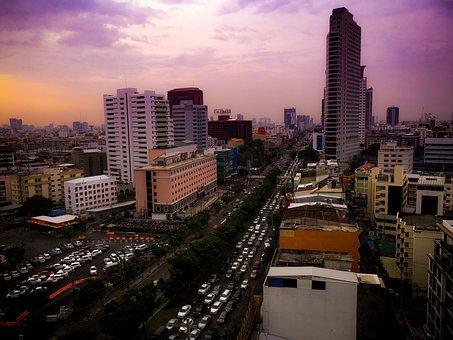 Bangkok, Thailand, Traffic Jam, City, Travel