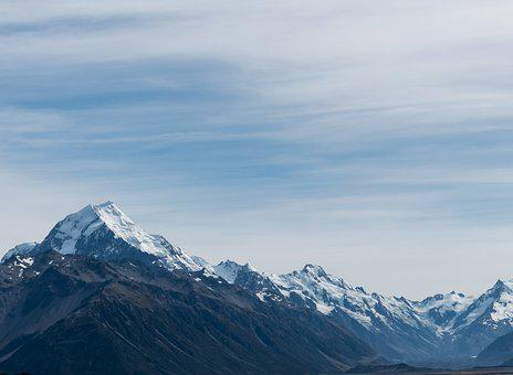 Southern Alps, Mount Cook, New Zealand, Blue, Clouds