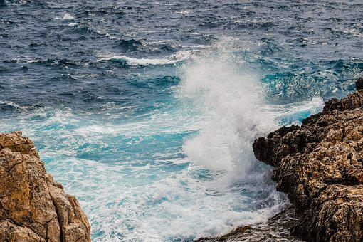 Wave, Smashing, Rocky Coast, Spray, Foam, Splash
