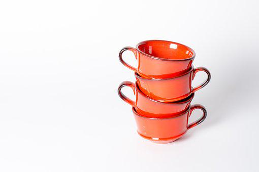 Cups, White, Coffee, Drink, Orange, Mug, Whitespace