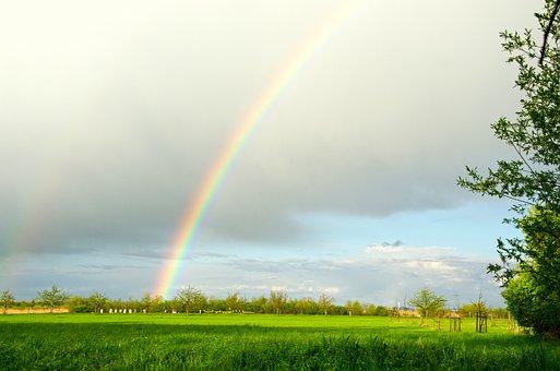 Rainbow, Clouds, Sun, Sky, Nature, Mood, Landscape